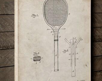 Tennis Racket 1892 Patent Canvas Art, Vintage Tennis, Coach Gift, Tennis Art, Canvas Wall Decor, PP0183