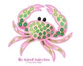 Preppy Crab clip art - Original Art download, pink and green, preppy art, instant download, beach clip art, tropical clip art