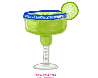 Margarita clipart, margarita glass, invitation art, watercolor clip art, party clip art, party clipart, digital clip art
