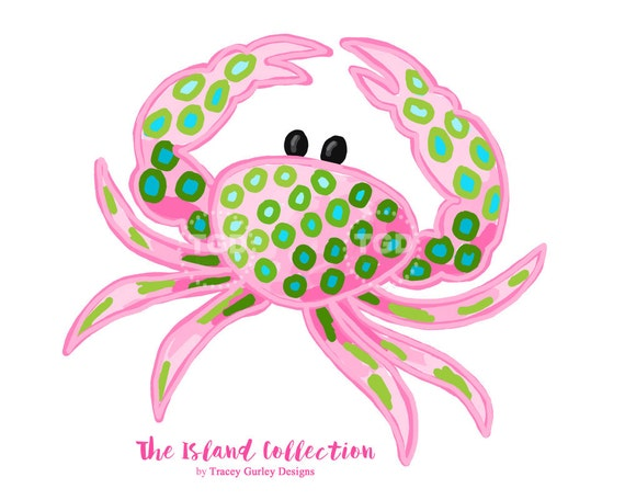 preppy crab clip art original art download pink and green