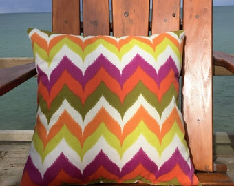 Bright and Beautiful 18x18 treated fabric pillow cover.  From olive green to purple to tangerine and a few colors in between.