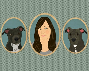 Custom portrait. Personalized portraits for animal lovers. Pet portrait commissions and memorials.