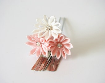 Handmade Japanese Traditional Tsumami Kanzashi Hair Clip Pin Kimono Yukata Outfit Wedding Ornament Pink &. White Sakura with Silver Falls