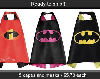 Lot of 15 superhero cape and mask set/ superhero/ Ninja Turtle/ childrens cape/ costume/party favor/kids/bulk/Halk/batman/wonder woman