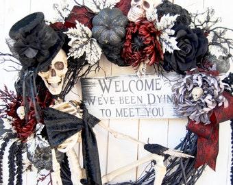 """2016 28"""" Skeleton Halloween wreath, Gothic Skeleton Halloween Wreath,Steampunk Skeleton Wreath, Fall Decor, Halloween Decoration"""