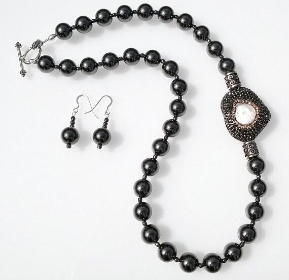 Hemalyke Necklace & Earrings,  Focal Necklace, Druzy Necklace, Hematite Necklace, Statement Necklace
