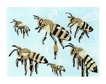 honey bee archival inkjet print of linocut print 8x10