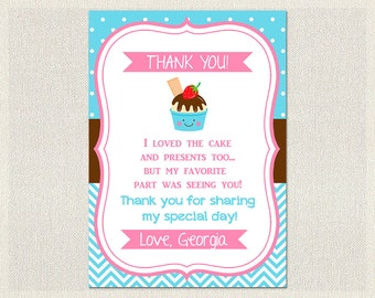 Ice Cream Thank You Card Birthday Blue Pink 1st 2nd 3rd Printable Girl IV-13