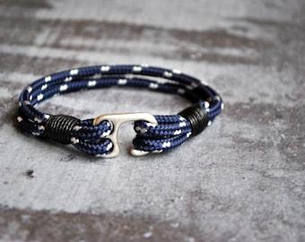 Blue fish hook mens paracord bracelet   paracord anchor bracelet   nautical bracelet   fish hook wristband   haken armband   pulsera hombre