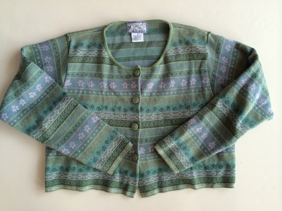 April cornell sweater charming vintage cotton in soft greens