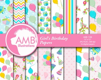 Birthday Party Digital Papers, Girls Pastel Birthday, Balloons Papers, Party Hats Scrapbook Papers, commercial use, AMB-1188