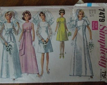 Simplicity 7479, size 12, bridal gown, bridesmaids, sewing pattern, craft supplies,