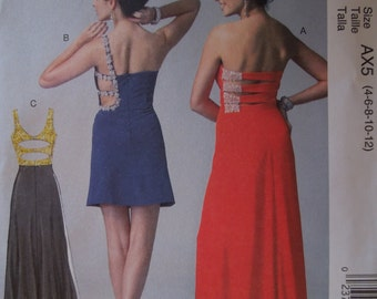 McCalls M6894, sizes 4-12, teens, misses, womens, formal, evening dress, prom, wedding or ? UNCUT sewing pattern,craft supplies