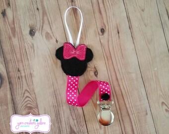 Feltie Minnie Pacifier Holder w/ Fushia Pink Polka Dot Ribbon