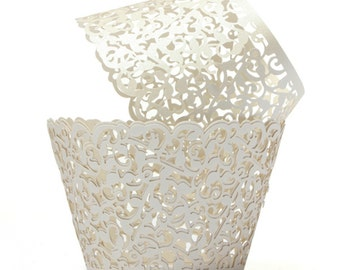 12 Vine - Pearl - Lace cupcake liners / wrappers - Fits Standard Cupcake Wrappers - CCW368