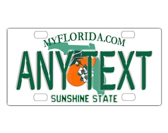Custom, personalized state license plate - Florida - Add Any Text - free shipping