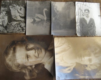 Set of 6 Large Photos, Some damaged, Atmospheric, great for art projects