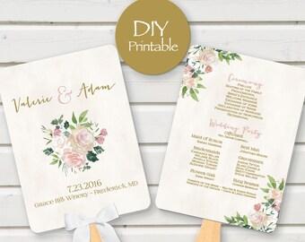 Wedding Program Fan printable digital DIY blush gold pink vintage floral template customized download PDF