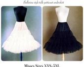 BLACK or WHITE Swing Dress Petticoat, Rockabilly Tulle Crinoline Underskirt, 1950's Style Retro Bridesmaid Wedding Party Skirt
