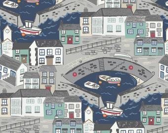 Lewis & Irene Harbour Side Patchwork Quilting Fabric A175.3 - Harbour with navy blue sea