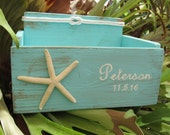 Personalized Card Wedding Box Holder Distressed Beach Nautical Rustic Starfish with Nautical Knot Baby Shower, Anniversary