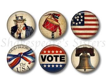 Americana Decor - Fridge Magnets - American Flag - Vote - 6 Magnets - 1.5 Inch Magnets - Patriotic Magnets