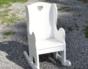 Vintage Child Rocking Chair White Wood Wooden Rocker Shabby Cottage Home Decor  PanchosPorch