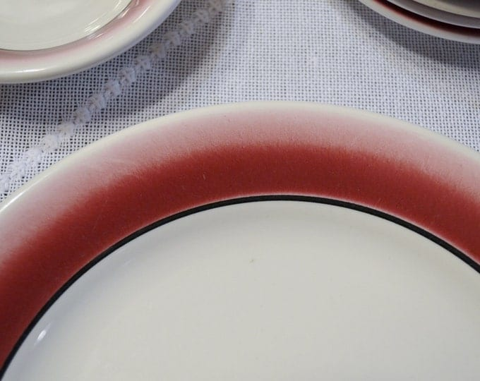 Vintage Homer Laughlin Restaurant Ware Dinner  Plate Saucer Bowl 18 pcs Red Black Band PanchosPorch