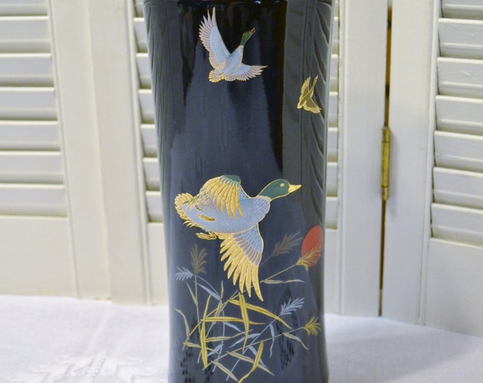 Vintage Vase Black Ceramic Mallard Duck Japan Tall Flower Vase PanchosPorch