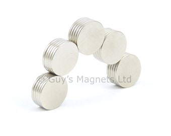 12mm x 1mm strong N35 neodymium round circular disk magnets ideal for magnetic card closures GuysMagnets