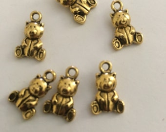 Gold plated teddy charms 50 pieces