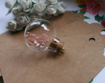 Transparent glass globe vials necklace pendant, glass bottles, wood cork, perfect for necklace design V0608