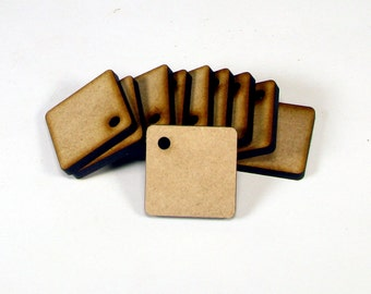 Laser Cut Unfinished Square Wood Shapes Craft Suppies