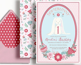 1st Birthday Invitation Girls Girl Somebunny Bunny Some Rabbit Flowers Garden Party Floral Pink Red Blue Printable First Milestone Spot