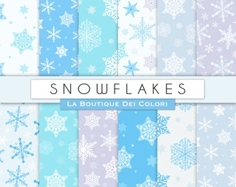 Winter digital paper. Cute digital paper pack. Blue snowflakes backgrounds Christmas Snow patterns for commercial use clipart