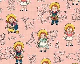 Farm Girl Main Pink by October Afternoon for Riley Blake, 1/2 yard, C5020-Pink