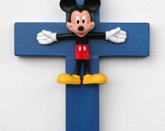 Mickey Mouse Wooden Cross Sculpture