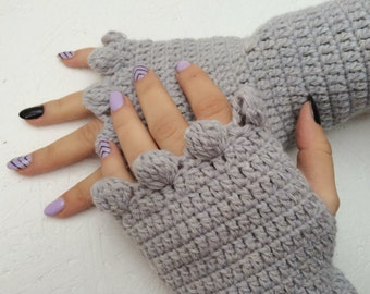 BLACK FRIDAY SALE! Ready to ship! gray fingerless women fingerless gray warmers gray bridal  Gloves Crocheted Arm Warmers  gray mittens
