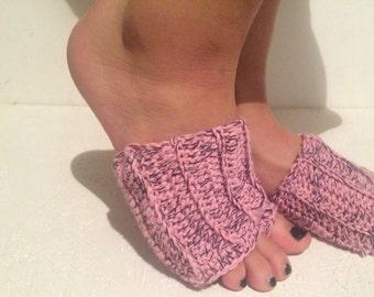women yoga socks multicolor crochet Flip flop Socks Toeless Socks, Flip Flop Sox Dance Yoga Pilates Socks Footwarmers foot savers