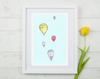 "Hot air Balloon, Hot air balloon Print, Nursery art, kids wall art, bristol, Kids prints, A4 8""x10"" Giclee Print."