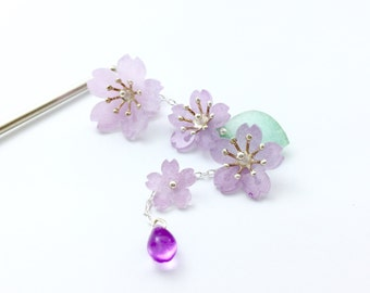Japanese cherry blossoms 。Sakura tassel hairpin/Japanese tassel hairpin / kimono hair accessories /hair stick