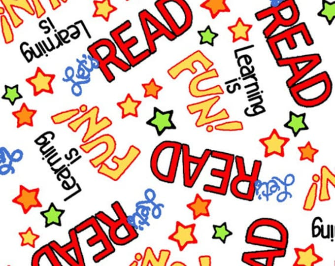 One Yard Learning is Fun! - Word Toss in White - Cotton Quilt Fabric - by Kimberly Montgomery for Quilting Treasures - 23451-Z (W3175)