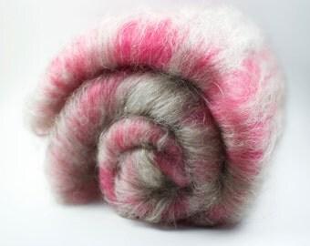 "Wool Batt for Spinning or Felting - 70g/2.4oz - hand carded merino/mohair fibre blend - Pink and Grey - ""Boys Not Allowed"""