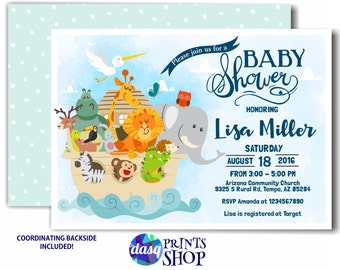 Noah's Ark Invitation -  Baby Shower -  Twins Baby Shower
