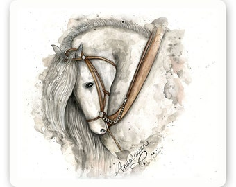 Andalusian Horse Gray - Watercolor - Artist Print - Digital