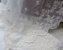 Cotton Tulle Lace Trims Ivory Embroidery Lace Fabric for Dresses, Sewing, Costume