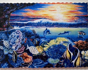 """New Hand Cut Wooden Jigsaw Puzzle """"Under the Ocean"""" (214 pcs) in Wooden box"""