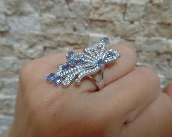 Natural Tanzanite, Sterling Silver and pave cz ring, Size 6 1/4