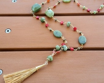Long Christmas Tassel Necklace in Gold, Jade, and Coral with Carnelian Accents, Red and Green Jewelry