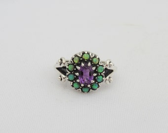 Vintage Sterling Silver Amethyst & Green Opal Cluster Ring Size 5.75